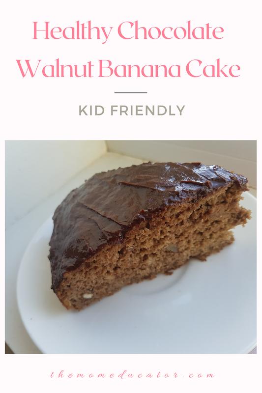 kid friendly chocolate walnut banana cake