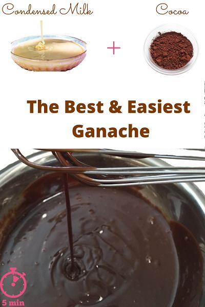 two ingredients chocolate ganache - condensed milk cocoa ganache