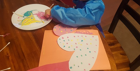 valentine's q-tip painting for kids
