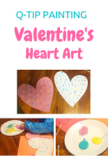 valentine's qtip painting for kids