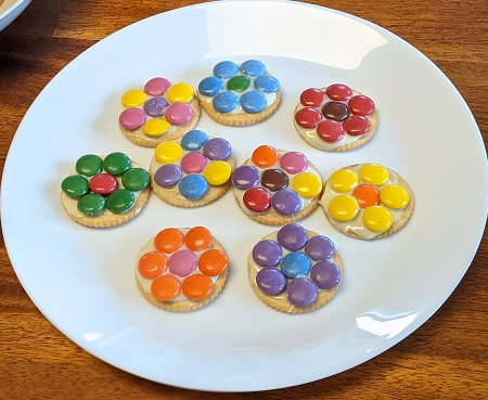 Spring Flower Cookies with Ritz crackers and Smarties