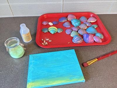 beach themed seashell art preschool