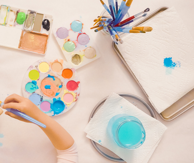 Seashell Canvas Art with kids